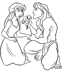 tarzan give flowers jane porter coloring pages kids fe1
