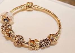 bracelet pandora gold images Pandora authentic solid 14k gold bracelet w 10 14k gold charms jpg