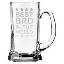 engraved best brother in the world beer mug giftsmate