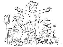 printable thanksgiving scarecrow pig duck coloring