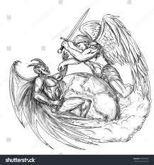 tattoo style illustration saint michael archangel stock