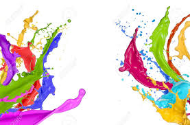 colorful paint splashing on white background stock photo picture