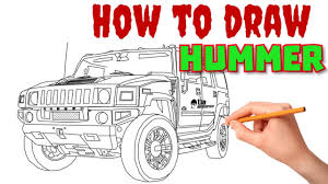 humvee drawing how to draw hummer by draw sketch youtube