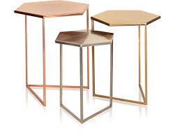 what are nesting tables set of three hexagon metallic nesting tables oliver bonas