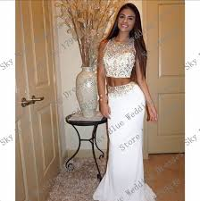 graduation dresses high school shop o neck beaded two white and gold prom dresses