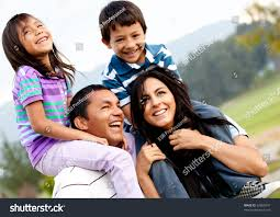 Beautiful Family Beautiful Family Portrait Outdoors Looking Very Stock Photo