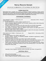 Example Objectives For Resume by Nanny Resume Sample U0026 Writing Tips Resume Companion