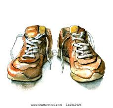 sketch shoes handdrawn watercolor ink illustration stock