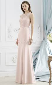 blushing pink mermaid lace and chiffon bateau long bridesmaid