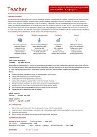 Example Of A Resume For A Teenager by Teaching Cv Template Job Description Teachers At Cv