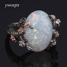 white fire rings images Ywospx vintage silver color ring white fire opal flower rings for jpg