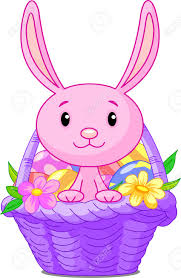 rabbit easter basket beautiful easter basket with bunny and eggs royalty free cliparts