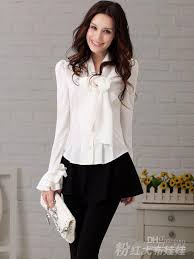 White Blouse With Black Bow White Tight Double Layer Ruffle Long Sleeve Women U0027s Blouses T