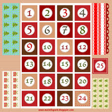 free printable christmas advent calendar numbers borders