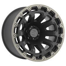 dark gray jeep wrangler black rhino razorback wheel in matte black with machined tint lip