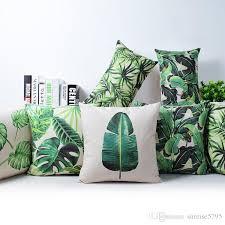 tropical rainforest cushion cover green jungle plant throw pillow