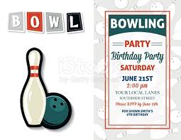 retro style bowling birthday party invitation template stock