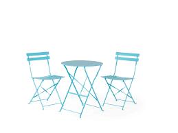 Esszimmertisch Blau Balkonset Blau 2 Stühle Fiori Beliani De