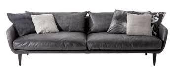canapé en plume canapé droit l 240 cm cuir cuir gris foncé diesel