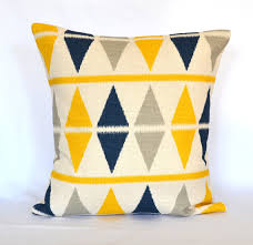 Pillows Blue navy and Yellow decorative pillow cover throw pillow