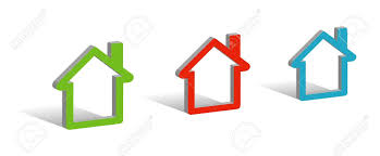 three houses three houses 3d symbols with place for your text royalty free