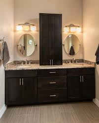 rustic double sink bathroom vanity some drawers brown laminated