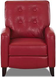 klaussner allison high leg reclining chair with attached pillow