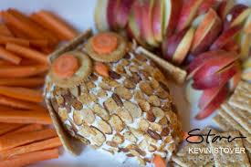 woodland baby theme baby shower owl cheeseball with cracker