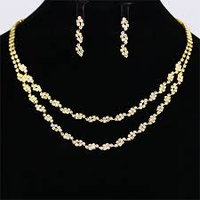 gold necklace design sets images Unique design dual strands gold plated crystals bridal necklace jpg