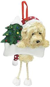 goldendoodle ornament with unique dangling legs