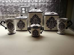 white kitchen canisters sets black white damask kitchen canister set 65 damask