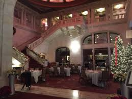 grand staircase and beautiful lobby set up for thanksgiving dinner