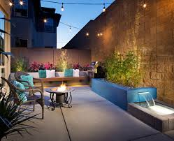small modern look backyard with custom water feature and wood
