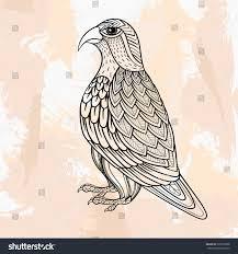 zentangle vector falcon tattoo hipster style stock vector