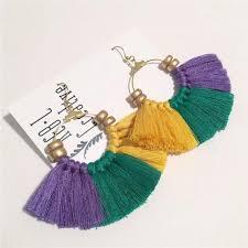 mardi gras earrings mardi gras tassel earrings monogramjunkie