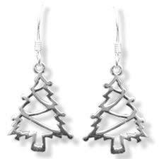 images of christmas earrings sterling silver christmas tree earrings cut out design 34mm drop