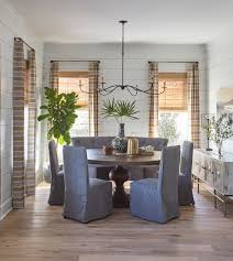 rustic dining room grey dining chairs rustic wood floor