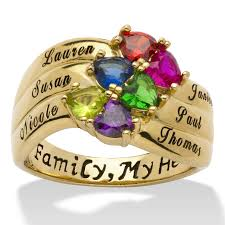 rings with birthstones and names 18k gold sterling silver heart shaped birthstone personalized
