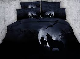 Wolf Bedding Set 3d Printed Wolf Bed Bedding Set King Moon Black