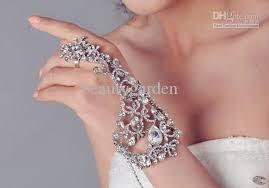 bridal bracelet with ring images Elegant wedding bridal crystal rhinestone jewelry finger ring jpg