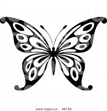 royalty free vector of a black and white butterfly logo by vector