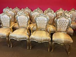 gold louis xiv royal palace style dining chairs cc french polishing