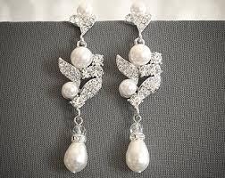 Chandelier Pearl Earrings For Wedding Cluster Chandelier Etsy
