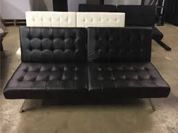 new mainstays faux leather tufted convertible futon brown model