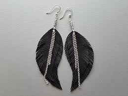 black feather earrings leather feather earrings black feather earrings