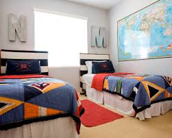 Twin Bedroom Ideas by Interesting World Map And Fabulous Twin Bed For Boys Bedroom