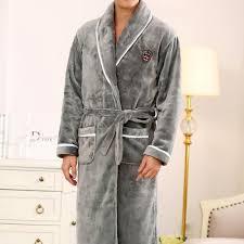 robe chambre polaire robe de chambre polaire homme grise avec ecusson et liseré à col