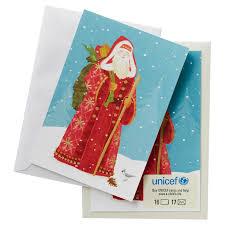 unicef european santa claus cards box of 16 boxed