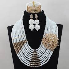 white crystal necklace set images New mix white and gold lace fabrics handmade crystal jewelry set jpg