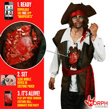 Dead Pirate Costume Halloween Mens Zombie Pirate Fancy Dress Costume Beating Heart